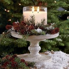 christmas centerpieces If the climate allows, consider an idea of rocking woodland winter wedding thats a dream! A forest covered with beautiful sparkling snow. Noel Christmas, Christmas Candles, Rustic Christmas, All Things Christmas, Winter Christmas, Christmas Crafts, Stone Gable Christmas, Christmas Wedding, Classic Christmas Decorations