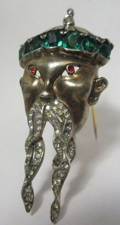 Vintage REJA Sterling Rhinestone Fur Clip Brooch Pin Figural Emperor 1940's