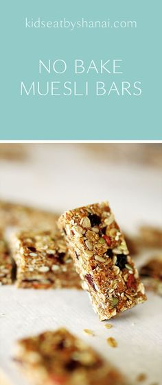 No Bake Muesli Bars Kids Eat by Shanai. These no bake muesli bars are perfect for school lunchboxes. Healthy School Snacks, Healthy Treats, Healthy Baking, School Lunches, Healthy Recipes, Muesli Slice, Muesli Bars, Museli Bar Recipe, Lunchbox Kids