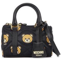 Womens Tote Bags Moschino Mini Black Bear Print Satin Tote (£325) ❤ liked on Polyvore
