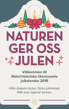 Välkommen till Naturhistoriska riksmuseets julkalender 2015. Hitta dagens lucka på vårt fina hus, lista ut svaret på rimmet för att öppna och ta del av historien bakom luckan. Lycka till!