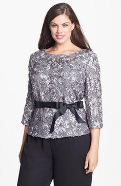 Alex Evenings Satin Rosette & Embellished Lace Top (Plus Size)   Nordstrom