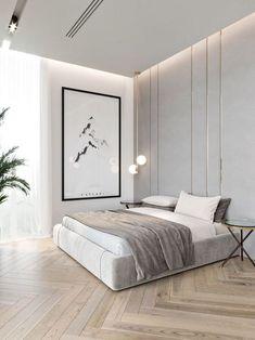 Interior Design Minimalist, Modern Minimalist Bedroom, Modern Bedroom Design, Contemporary Bedroom, Bedroom Designs, Minimalist Apartment, Minimalist Wardrobe, Minimalist Style, Minimalist Decor