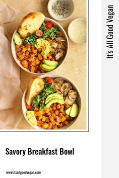 I wanted to share one of my go-to brunch meals with you, just in case you are looking for one this weekend! This nourishing and filling Savory Breakfast Bowl. Filled with roasted sweet potatoes, seasoned chickpeas, avocado, mushrooms, kale and toast. It's savory, flavorful, and satisfying. Quick Easy Healthy Meals, Quick Recipes, Clean Recipes, Healthy Eats, New Recipes, Real Food Recipes, Healthy Vegan Breakfast, Savory Breakfast, Breakfast Bowls