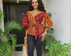 isiagu blouse styles for ladies ~ isiagu styles for ladies ` isiagu blouse styles for ladies African Wear Dresses, African Fashion Ankara, Latest African Fashion Dresses, African Print Fashion, African Attire, African Prints, Africa Fashion, African Blouses, African Tops