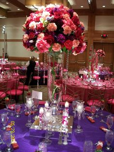 Find This Pin And More On Wedding Flowers Pink Purple Tall Centerpiece