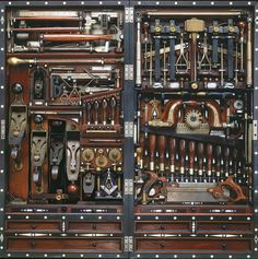 Some 300 tools neatly stored in a 40 inches by 20 inches space: Henry O. Studley Masonic Tool Chest