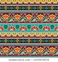 Pakistani Or Indian Truck Art Vector Seamless Pattern, Indian Truck Floral Design With Flowers, Leaves And Abstract Shapes In Brow Stock Illustration - Illustration of flowers, lace: 155383993 Truck Art Pakistan, Pakistan Art, Madhubani Art, Madhubani Painting, Art And Illustration, Tela Hindu, Repetition Art, Aztec Pattern Wallpaper, Indian Folk Art