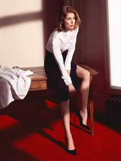 Rosamund Pike flaunts her legs in Dior ensemble for Dior Magazine Fall/Winter 2016