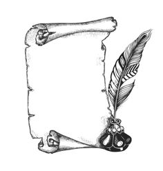 Paper scroll feather and inkwell vector art - Download Black ...
