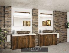 Brick effect bathroom feature wall. Bathroom Feature Wall, Monopole, Blanco White, Interior And Exterior, Interior Design, Large Bathrooms, Brickwork, Brick Wall, Facade