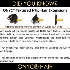 Get longer length, volume, and highlights in a #SNAP With #ONYCHair Textured I Tips #hair collection!  #ONYCHair I Tip Advantages: ✅Very Easy to #INSTALL ✅May be #REUSED up to 3 times ✅Quick Application time: 1 to 2 hours ✅Can last 3 to 6 months with proper care ✅Available in most natural Ethnic Hair Textures to achieve the #FLAWLESS finish look!   Shop US Now>>> ONYCHair.com Shop UK Now>>> ONYCHair.uk Shop NG Now>>>ONYCHair.ng