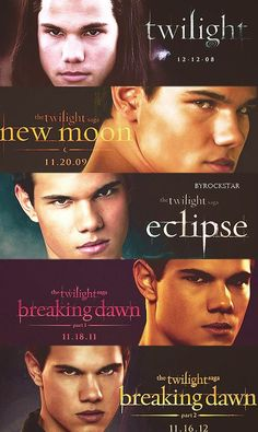 My FAVORITE MOVIES EVER!!! Loved all of them...Jacob was my favorite...yes...TEAM JACOB!!! lol 'The Twilight Saga'.