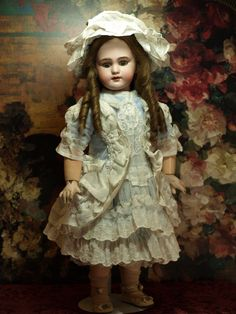 French Bebe with Beautiful Couture Costume-Antique Human Hair Wig from patsyanndolls on Ruby Lane