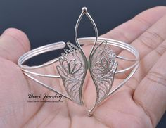 925 Sterling Silver Filigree Feather Bangle Silver by DewiJewelry