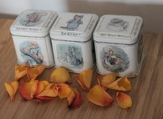 Set of Three Beatrix Potter Tins. Tom Kitten, Squirrel Nutkin and Mrs Tiggy-Winkle. Made in England by AtticBazaar on Etsy