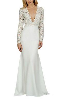 09535caab0 SDRESS Women s Long Sleeve Deep V-neck Long Mermaid Wedding Dress for Bride  Ivory Size 6