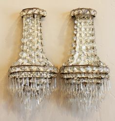 i need these!!!!!!!!!!!!!!!!!!!!!!!!Pair Art Deco French Crystal Wall Sconces Beautiful-