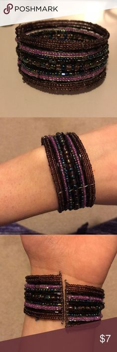 Beaded cuff bracelet Beautiful purple and blue beaded cuff bracelet. Easy to put on, stretches well Jewelry Bracelets