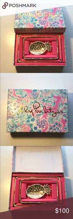 Lilly Pulitzer Nesting Plates Brand new in box Lily Pulitzer Nesting Trays. The biggest one is 8 x 5.5 inches, the medium one is 6 x 4 inches, and the small pineapple one is 4.5 x 2.5 inches. Lilly Pulitzer Accessories
