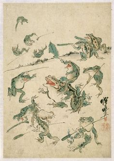 Frog's war (sketch) by Kawanabe Kyosai (1831-1889)