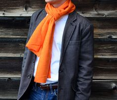 Orange herringbone flannel scarf- just the thing for game day