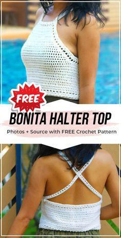 Crochet Tops 89579 crochet Bonita Easy Halter Top free pattern - easy crochet top pattern for beginners Diy Crochet Halter Top, Top Crop Tejido En Crochet, Crochet Summer Tops, Crochet Halter Tops, Crochet Shirt, Easy Crochet, Diy Halter Top, Crop Top Pattern, Crochet Clothes
