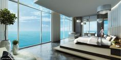 Contemporary sleek bedroom of Miami condo