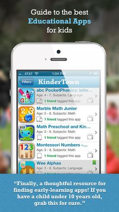 KinderTown finds and organizes the best educational apps for kids ages 3-6 years old. Free