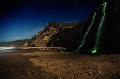 Mesmerizing Long Exposure Shots Of Neon-Streaked Waterfalls - DesignTAXI.com