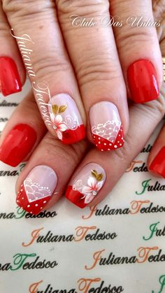 Unhas decoradas com vintage floral unhas decoradas diferentes, unhas decoradas curtas, unhas decoradas natal Bling Nails, Red Nails, Hair And Nails, Love Nails, Pretty Nails, Nails Decoradas, Red Nail Art, Cookies Et Biscuits, French Nails