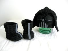 Crochet Star Wars Darth Vader hat and shoe / star by LovinglyNie