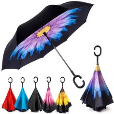 Coolstuffs Flamingo Blue Stripes Foldable Umbrella Travel Umbrellas for Women