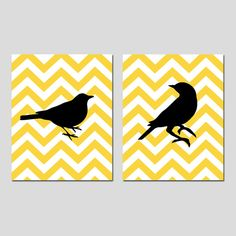 Set of Two 8x10 Prints  Chevron Birds  Bathroom Nursery by Tessyla, $39.50