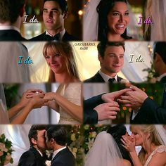 "#Glee 6x08 ""A Wedding"" - Kurt, Blaine, Santana and Brittany"