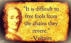 """It is difficult to free fools from the chains they revere.""   -Voltaire (and Morpheus... ;)"