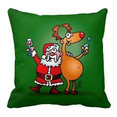 Santa Claus and his Reindeer Throw Pillow. #Zazzle #Cardvibes #Tekenaartje #Christmas