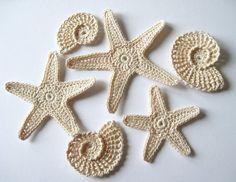 Crochet Sea Shells Starfish Sea Star Applique by GoldenLucyCrafts, $7.60