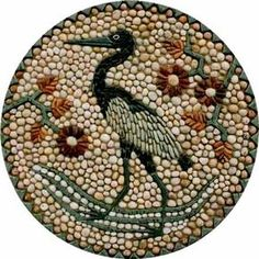 Heron Roundel, Ready made mosaic by Maggy Howarth - Cobblestone Designs Mosaic Rocks, Mosaic Stepping Stones, Pebble Mosaic, Stone Mosaic, Pebble Art, Mosaic Art, Pebble Stone, Stone Art, Seed Art