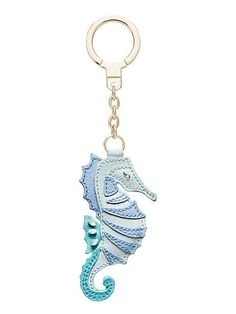 leather seahorse keychain, multi  $58 MATERIAL crosshatched leather with matching trim FEATURES jump ring keyfob with link chain style # 1kru0231 DETAILS weight: 22.06 g imported