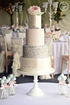 Love the ivory and silver color of this wedding cake; ~ Cotton and Crumbs