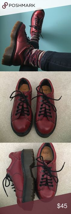 VINTAGE Dr. Martens / Doc Martens Made in England Restored / Vintage Dr. Martens. Made in England. They were a mess when I got them but I cleaned them up and added new laces. Disclaimer they are heavy shoes but worth it. They are also heeled about two inches. UK size 5, translates to size 7 US. These are badass and I wish I could keep em but they don't exactly fit. Dr. Martens Shoes Combat & Moto Boots