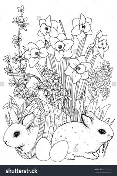 Easter coloringpage. Easter bunny. Spring flowers set - Daffodil, Hyacinthus, Snowdrop, Forsythia. A4 printable coloring book page. Hand-drawn illustration . All elements are isolated and editable.