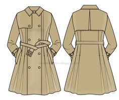 Fashion Flats Template: trench dress 0103 Dress Design Sketches, Fashion Design Sketchbook, Fashion Sketches, Fashion Drawing Tutorial, Trench Coat Dress, Flat Drawings, Clothing Sketches, Leather Jacket Outfits, Fashion Figures