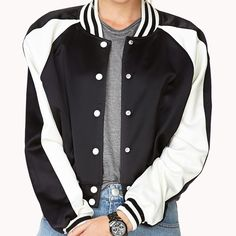 Fresh Satin Varsity Jacket CLOSED 'TIL 4/5   Lined. Snap button placket. Shell is 98% polyester, 2% spandex. Forever 21 Jackets & Coats