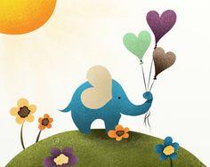 8 x 10 Childrens Print Baby Elephant Nursery di NaturesHeavenlyArt, $16,00