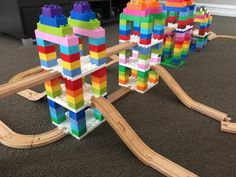 A parents' guide with tips and tricks for building with Dreamup Toys Wooden Railway Block Platforms, wooden train tracks, DUPLO blocks, and LEGO bricks. Lego For Kids, Diy For Kids, Crafts For Kids, Craft Activities, Toddler Activities, Lego Challenge, Wooden Train, Lego Projects, Lego Building