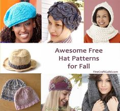 Free Knitting/Crochet Hat Patterns :: Beautiful XMas gifts for women all ages.