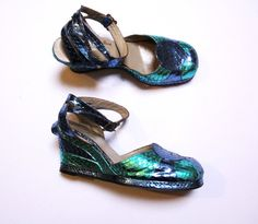 SALE was 550 Terry de Havilland rare 1970 platform shoes metallic snakeskin python uk size 4 (37) Glam rock leather wedges