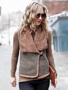 Caffe, a posh vest knitting pattern made with Berroco Voyage and Nanuk.